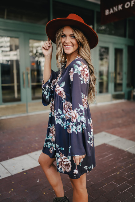 Button Detail Bell Sleeve Floral Dress - Charcoal