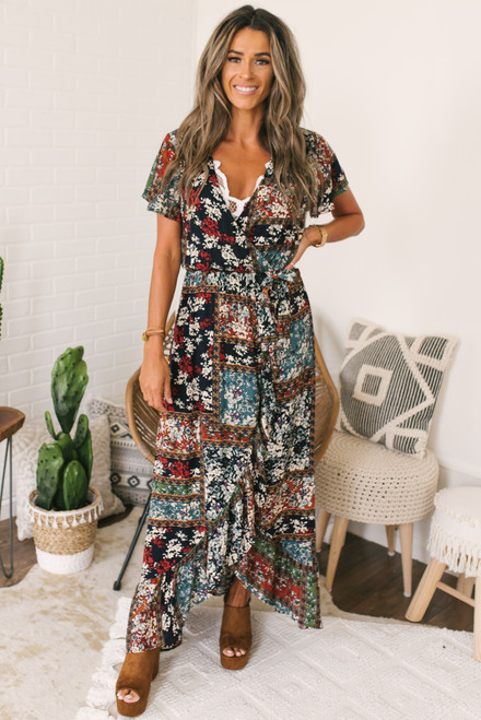 Faux Wrap High Low Mixed Floral Maxi - Navy Multi