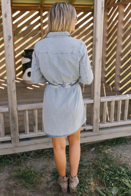Tie Waist Button Down Denim Dress - Light Wash
