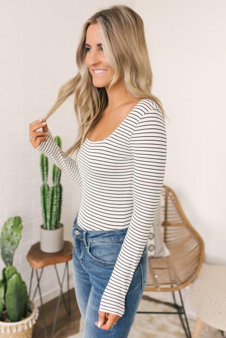 Square Neck Striped Bodysuit - White/Black - FINAL SALE