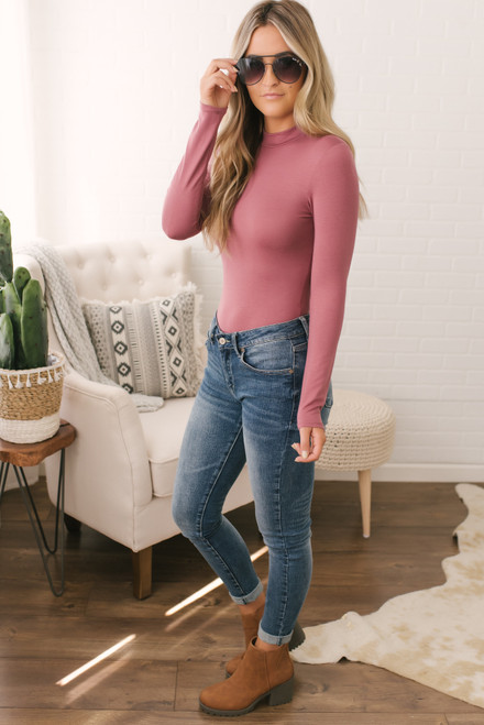 Mock Neck Bamboo Bodysuit - Mauve - FINAL SALE