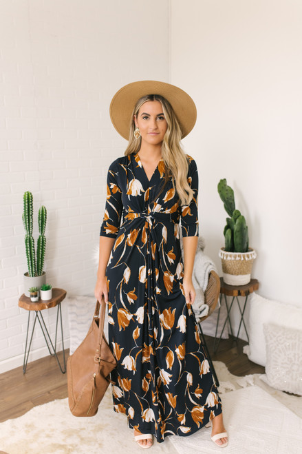 Fall Bouquet Twisted Front Maxi - Navy