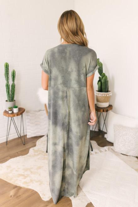 V-Neck Curved Hem Tie Dye Maxi - Olive - FINAL SALE