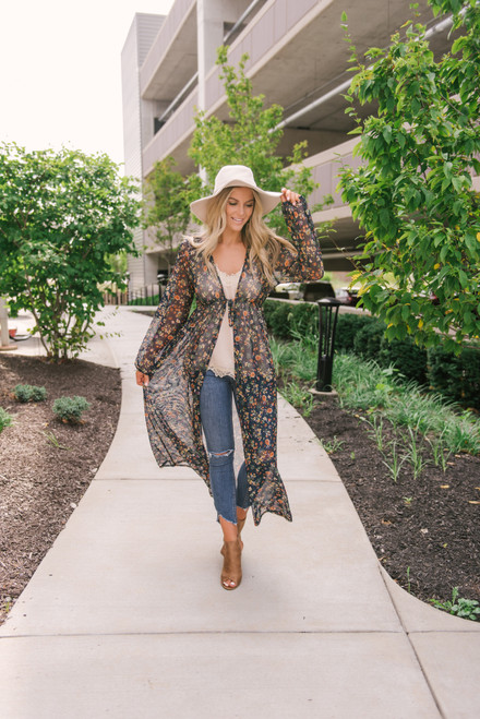 Tie Front Floral Duster Cardigan - Navy Multi