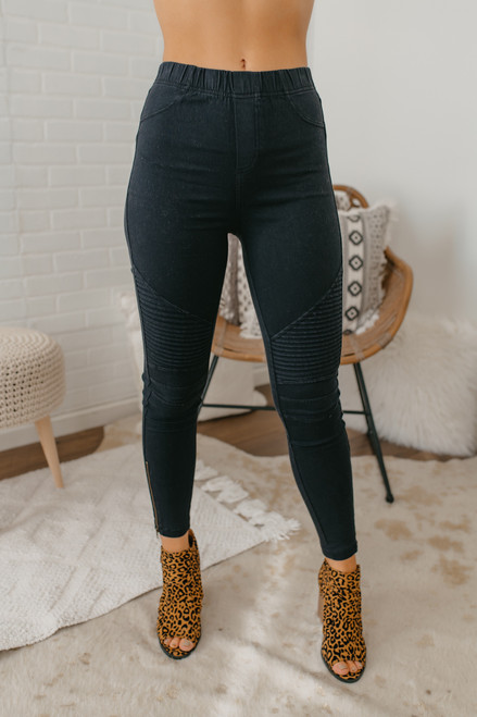 High Waist Moto Pants - Black