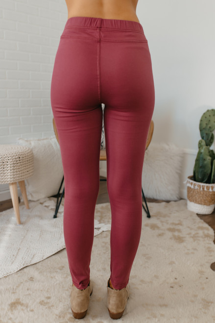 High Waist Moto Pants - Mauve Berry