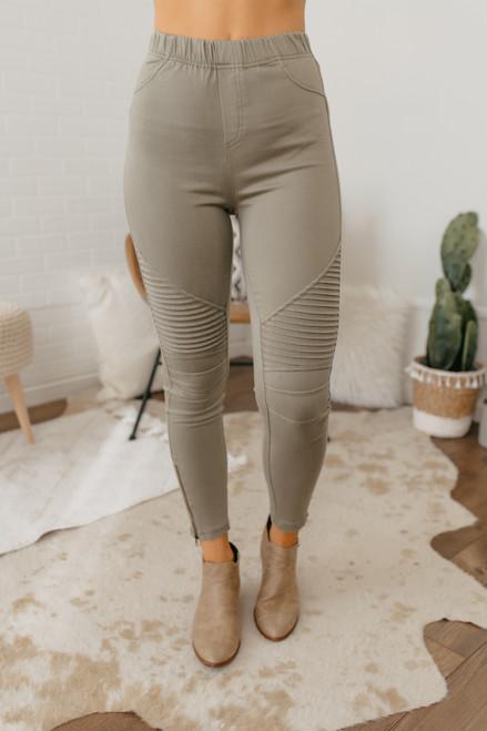 High Waist Moto Pants - Olive