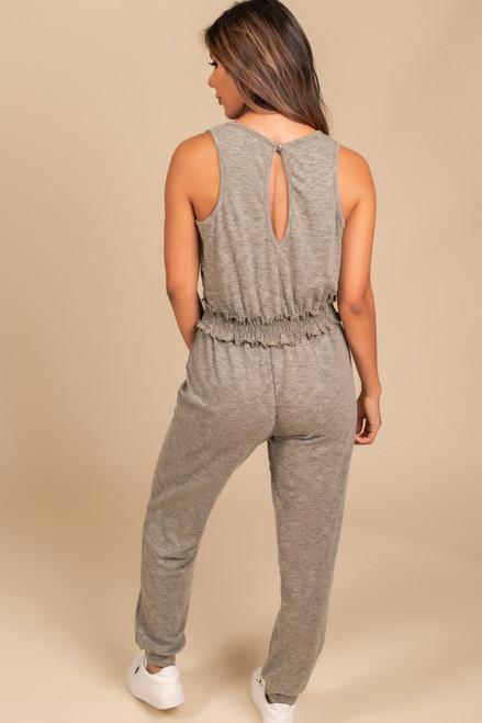 Smocked Waist Jogger Jumpsuit - Heather Olive