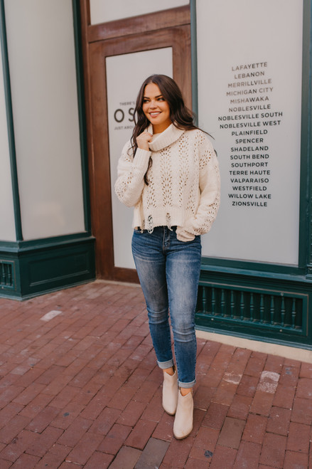 Turtleneck Eyelet Distressed Chenille Sweater - Ivory - FINAL SALE