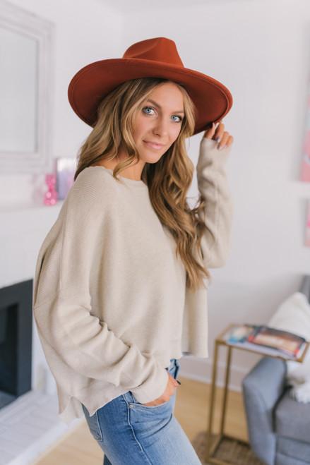 High Low Dolman Sweater - Oatmeal