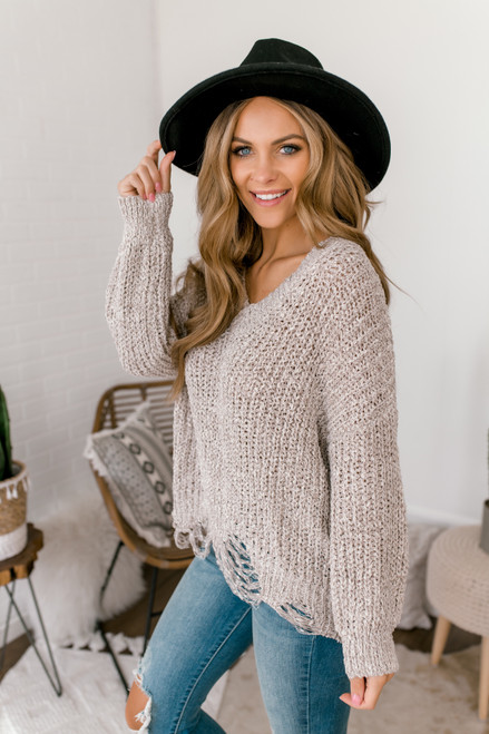 V-Neck Two Tone Distressed Sweater - Taupe/White