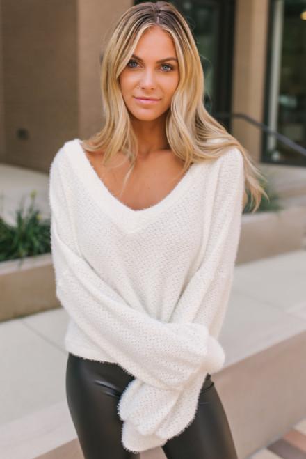 V-Neck Cozy Soft Boxy Sweater - Cream