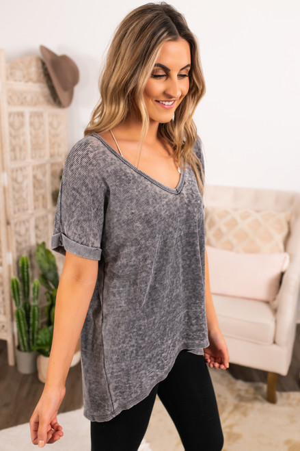 V-Neck Vintage Wash Thermal Top - Charcoal