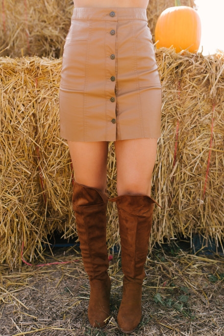 Faux Leather Button Down Skirt - Camel - FINAL SALE