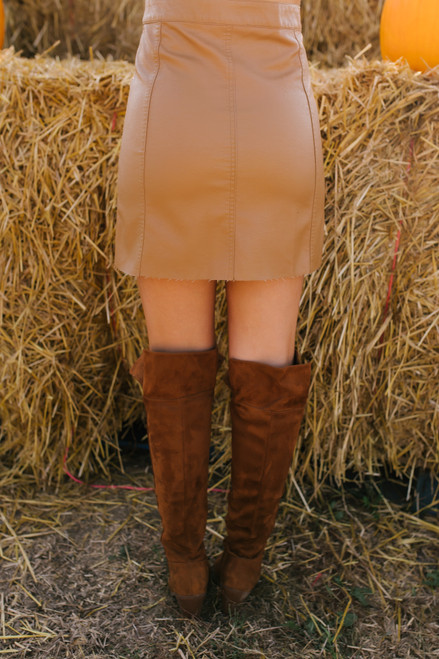 Faux Leather Button Down Skirt - Camel