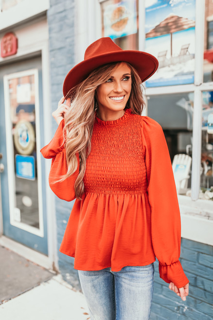 Mock Neck Smocked Peplum Top - Orange - FINAL SALE