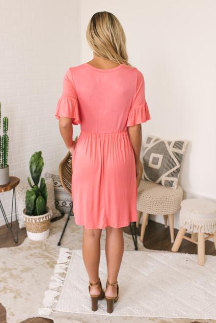 Ruffle Sleeve Button Detail Babydoll Dress - Coral - FINAL SALE