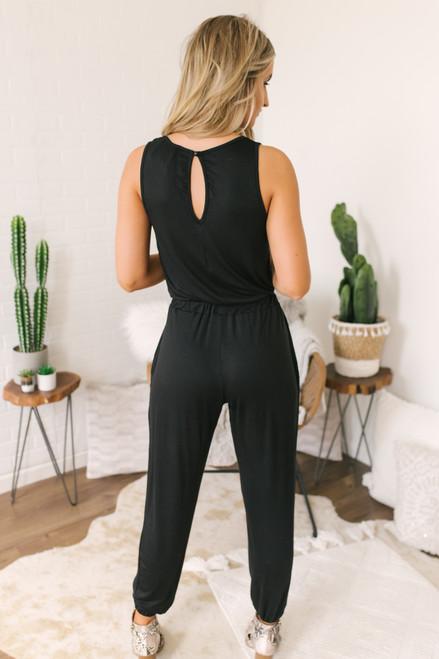 Soft Knit Jogger Jumpsuit - Black - FINAL SALE