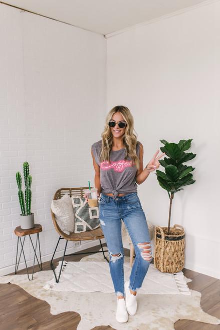 Neon Coffee Tank - Heather Charcoal  - FINAL SALE