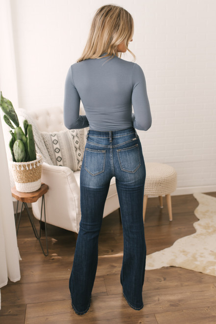 Mock Neck Bamboo Bodysuit - Slate - FINAL SALE