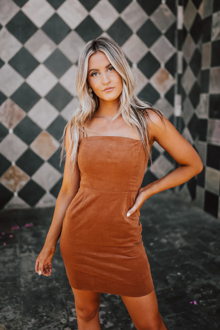 Sedona Summit Corduroy Dress - Camel - FINAL SALE