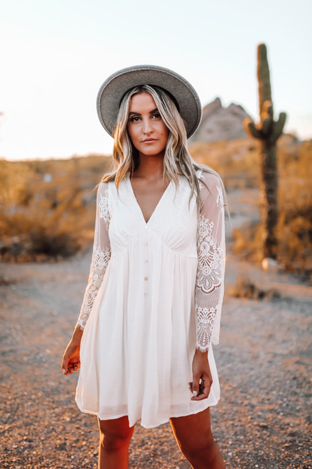 Button Detail Lace Empire Dress - Ivory