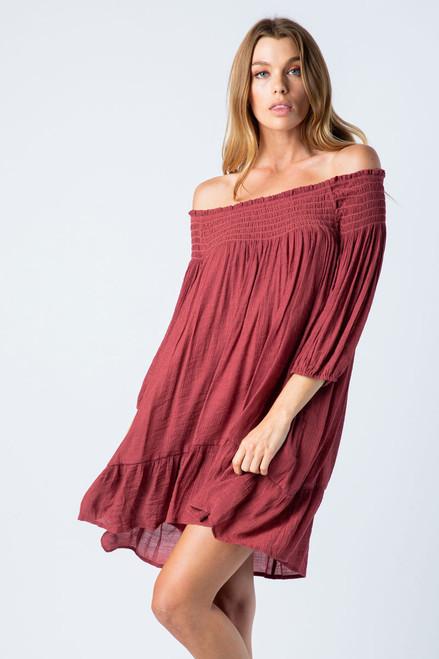 Off the Shoulder Smocked Dress - Brick- FINAL SALE