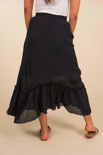Ruffle Hem Midi Skirt - Black