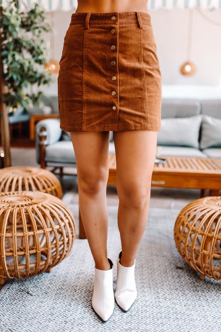 Button Down Corduroy Skirt - Camel