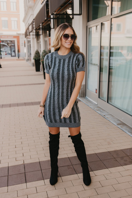 Two Tone Cable Knit Sweater Dress - Grey