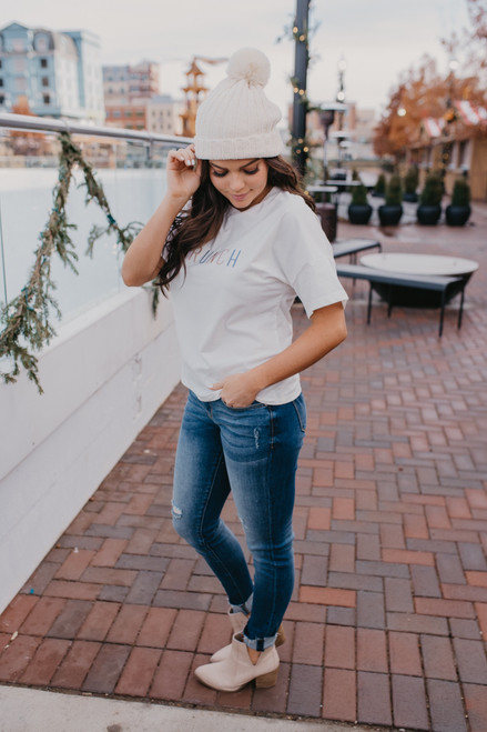Embroidered Brunch Tee - Ivory