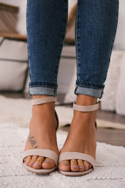 Chinese Laundry Jody Faux Suede Heels - Nude