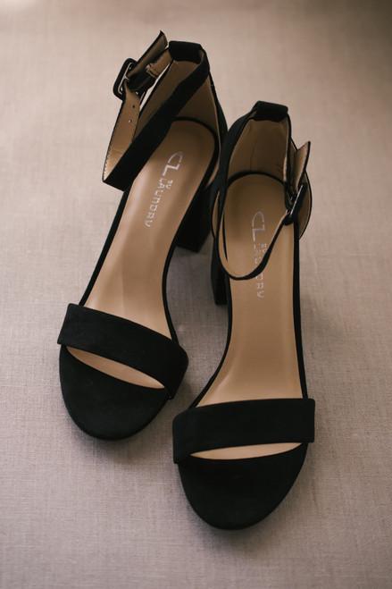 Chinese Laundry Jody Faux Suede Heels - Black - FINAL SALE