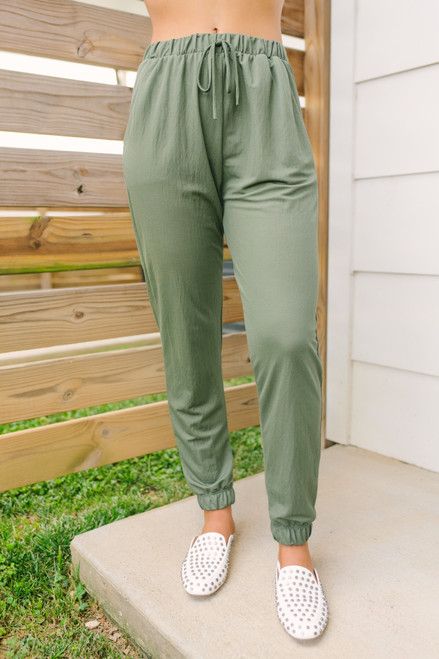 Drawstring Pocket Joggers - Olive - FINAL SALE
