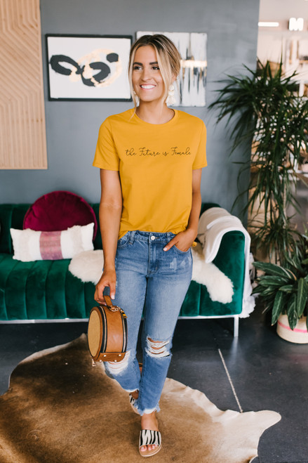 The Future is Female Tee - Mustard - FINAL SALE