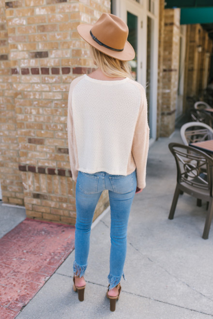 Colorblock Cropped Fuzzy Sweater - Ivory/Taupe