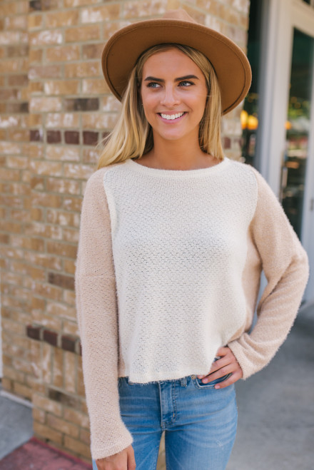 Colorblock Cropped Fuzzy Sweater - Ivory/Taupe - FINAL SALE
