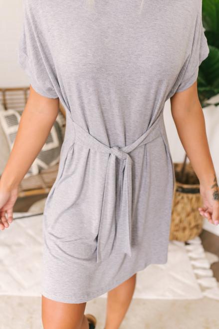 Comfort Zone Tie Front T-Shirt Dress - Heather Grey  - FINAL SALE