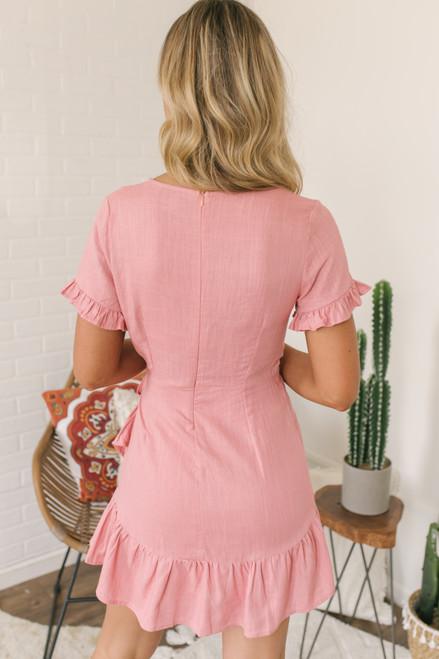 Faux Wrap Surplice Ruffle Dress - Blush