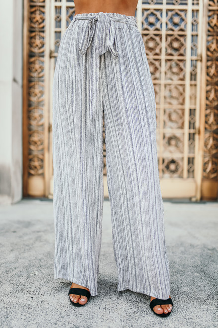 Tie Waist Striped Printed Pants - Ivory/Black - FINAL SALE