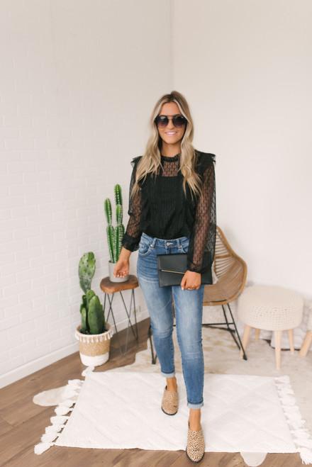Mock Neck Ruffle Lace Bodysuit - Black