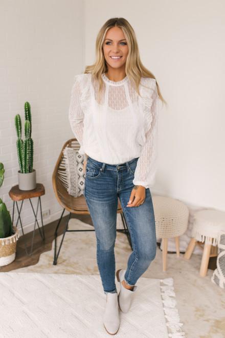 Mock Neck Ruffle Lace Bodysuit - White