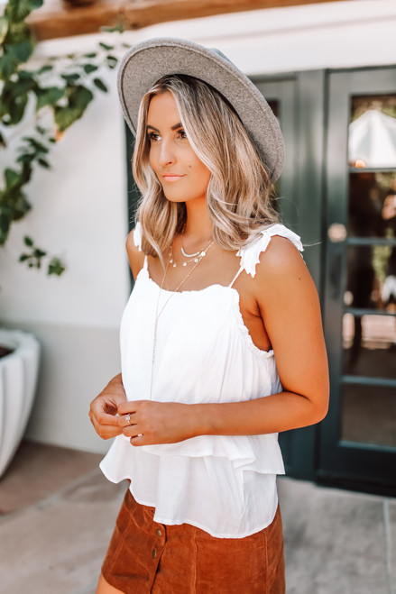 Pleated Strap Tiered Tank - White - FINAL SALE