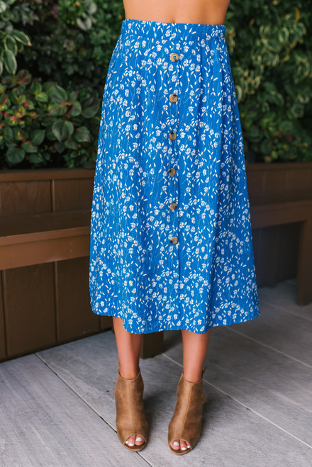 Button Down Floral Midi Skirt - Blue/White