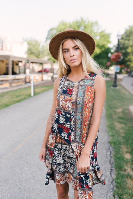 Floral Mixed Print Swing Dress - Navy Multi