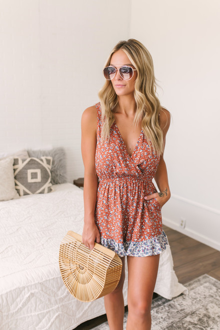 Surplice Ditsy Mixed Floral Romper - Rust Multi