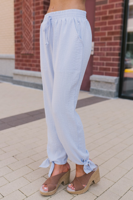 Drawstring Knotted Hemline Pants - Baby Blue  - FINAL SALE