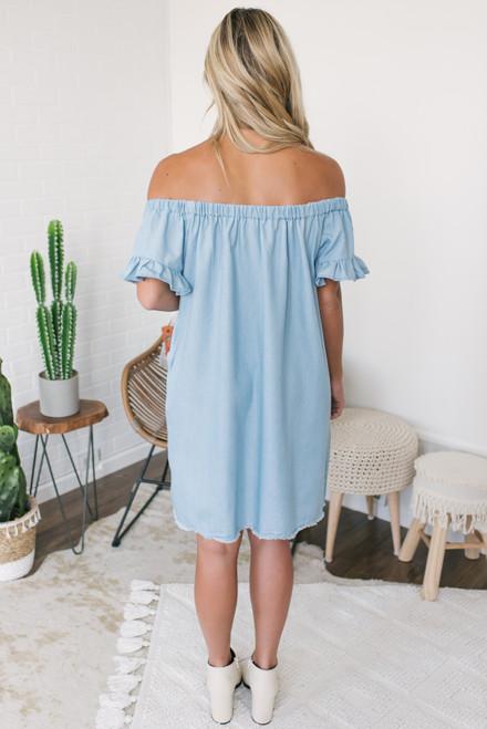 Off the Shoulder Frayed Chambray Dress - Light Wash- FINAL SALE