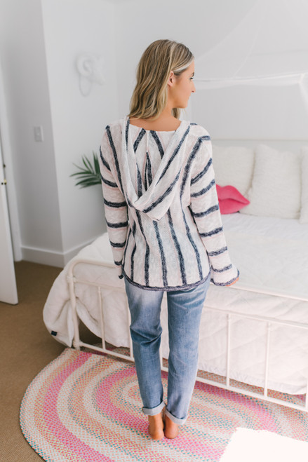 V-Neck Striped Baja Hoodie - White/Pink/Navy