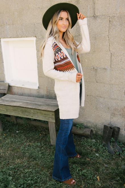 Printed Hooded Cardigan - Oatmeal Multi